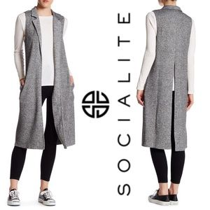 EUC Socialite – Notch Lapel Knit Vest Duster